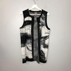 Chico's Black White Open Front Cardigan Vest Sz 2
